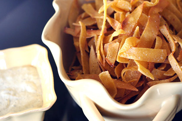 Homemade fried tortilla strips for Chicken Tortilla Soup