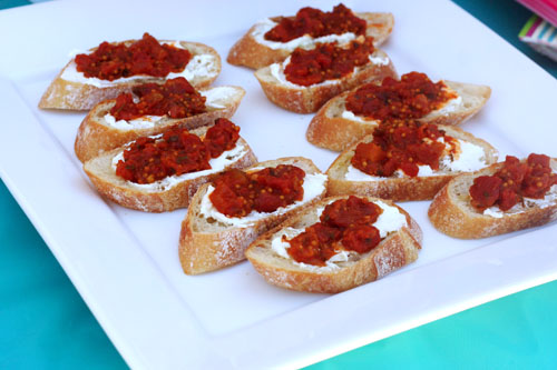 This Week For Dinner Grilled Crostini With Goat Cheese And Wichcraft Tomato Relish This Week