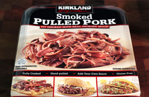 Costco package of smoked pulled pork