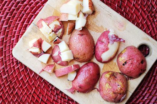 birds eye view of boiled potatoes cut into chunks