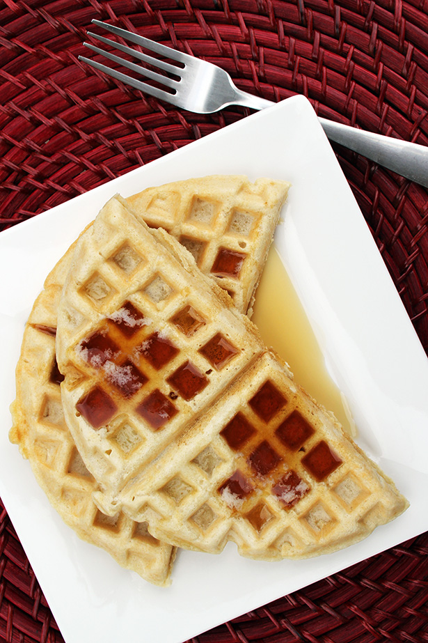 Fluffy Waffles using almond milk instead of regular milk