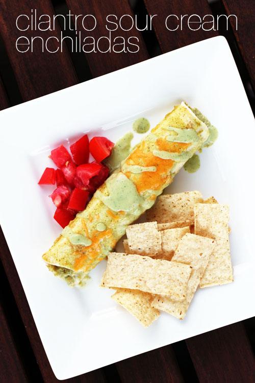 cilantro sour cream enchiladas | from @janemaynard at thisweekfordinner.com