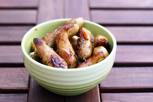bowl of roasted fingerling potatoes