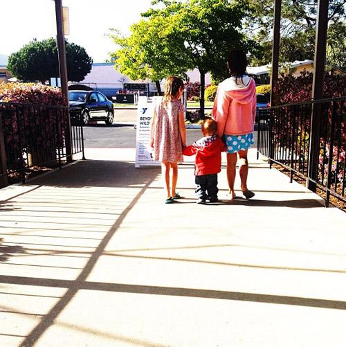 kids walking at Y