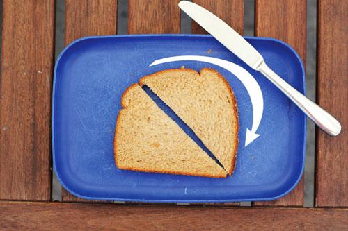 the flip   cutting half triangle sandwiches   thisweekfordinner.com
