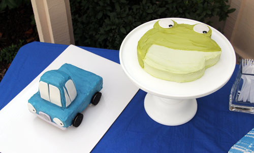 little blue truck and big green toad cakes   thisweekfordinner.com