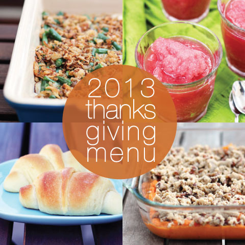 2013 Thanksgiving Menu by @janemaynard at thisweekfordinner.com