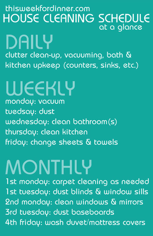 weekly house cleaning schedule from @janemaynard including free printable with 4-week plan
