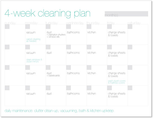 4-week house cleaning schedule from @janemaynard with free printable