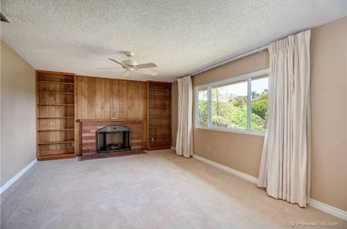 living room before shot, completely with 1960s wood paneling from @janemaynard