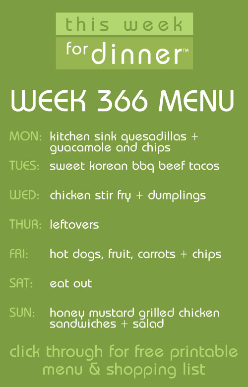 weekly dinner menu from @janemaynard with free printable menu with shopping list