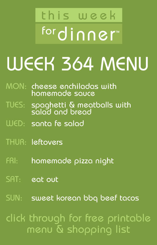 weekly meal plan from @janemaynard + free menu printable and shopping list