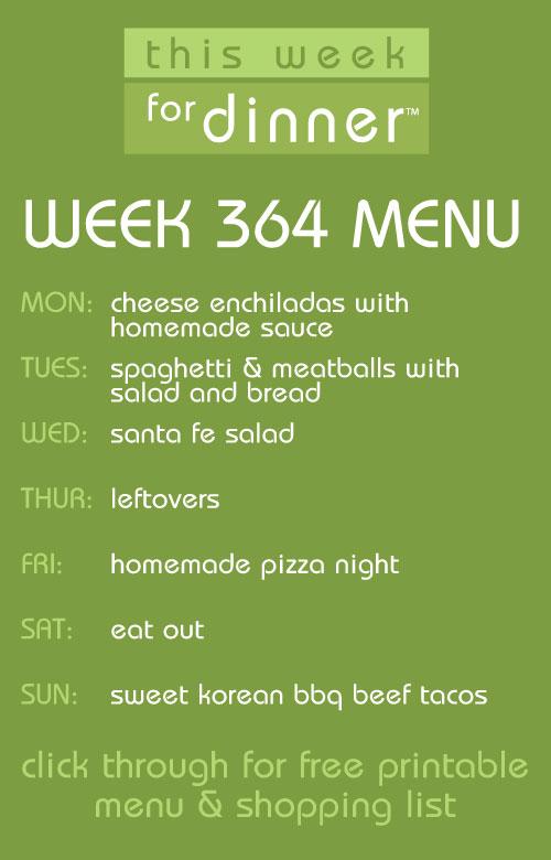 weekly meal plan from @janemaynard + free menu printable and shopping list