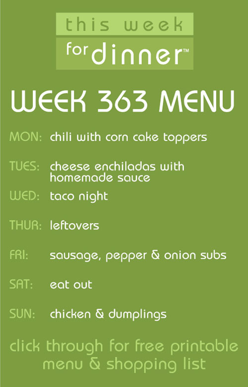 weekly meal plan from @janemaynard - includes free printable with menu and shopping list