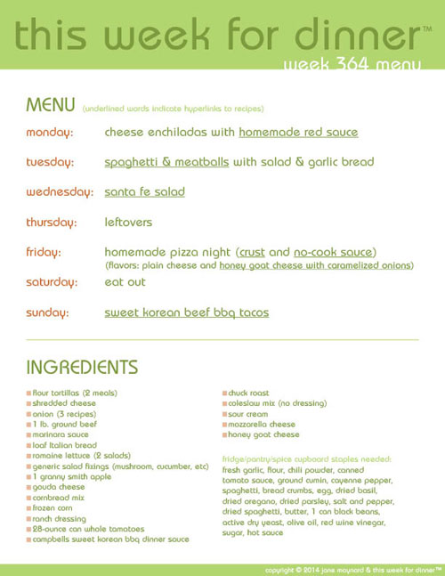 photo about Printable Menus called This 7 days for Evening meal: 7 days 364 Menu Fresh new Free of charge Printable