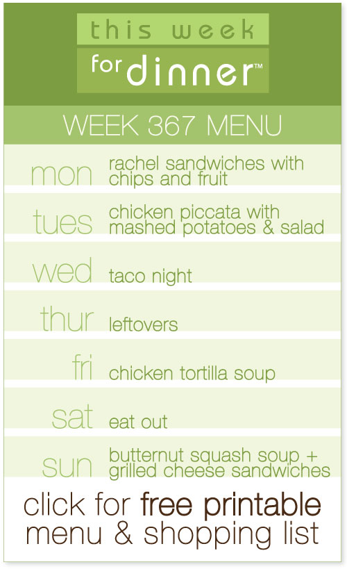 weekly dinner menu from @janemaynard + free printable menu and shopping list