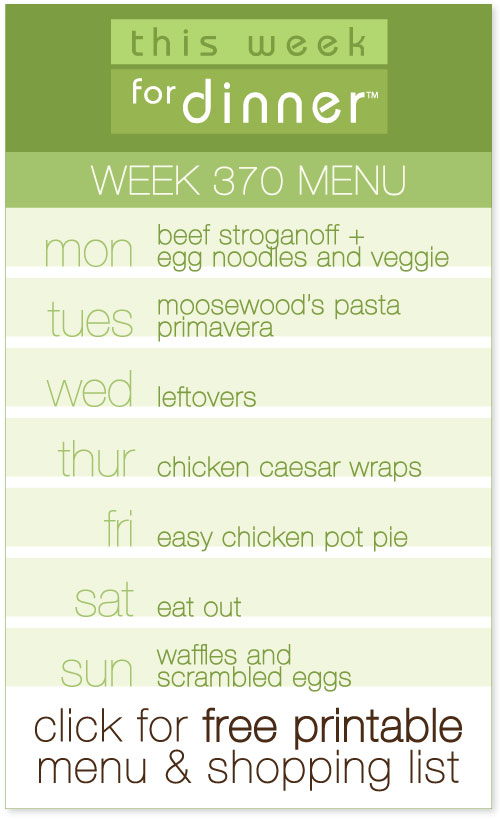 weekly dinner menu from @janemaynard including printable menu and grocery list
