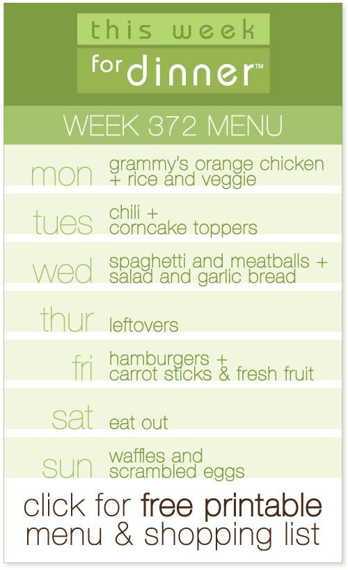 week 372 menu - weekly dinner meal plan from @janemaynard including free printable menu and shopping list