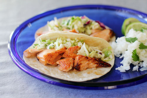 Grilled Salmon Tacos with Zesty Cilantro Slaw by @janemaynard