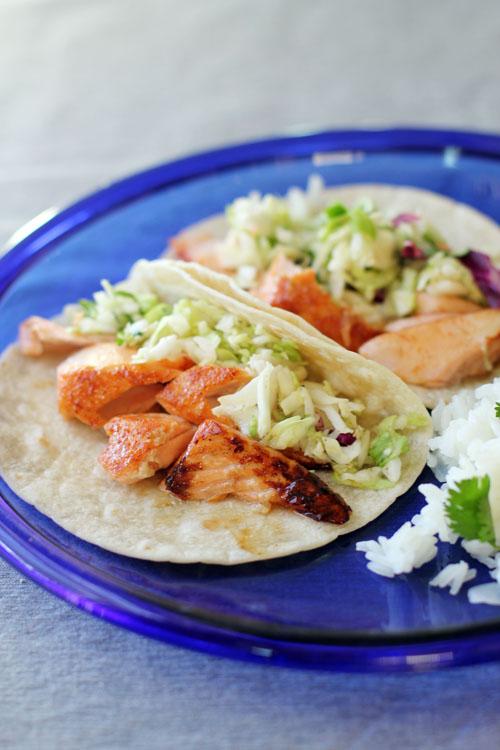 Grilled Salmon Tacos with Zesty Cilantro Slaw by @janemaynard