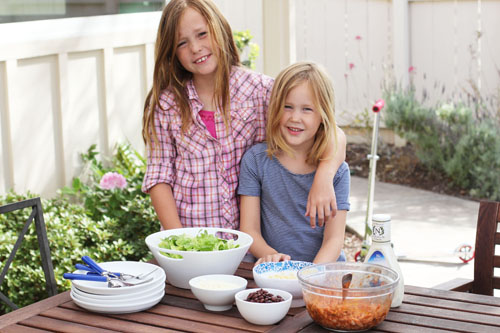 making barbecue chicken salad with the kids