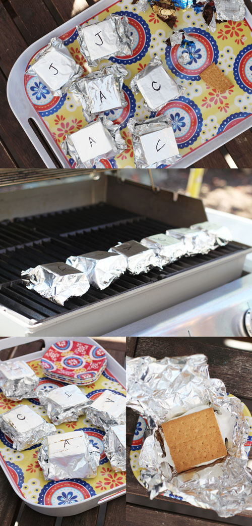 s'morritos a.k.a. s'mores on the grill from @janemaynard - a great way to serve s'mores at a party!