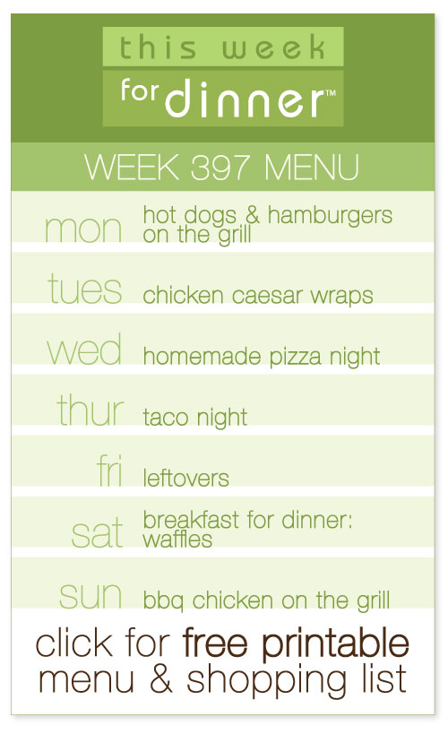 week 397 weekly dinner menu from @janemaynard including FREE printable meal plan and shopping list