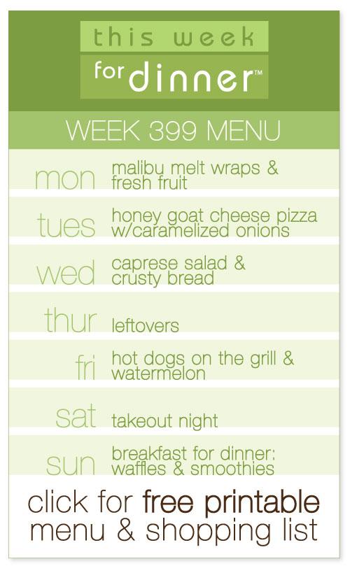 week 399 weekly menu from @janemaynard including FREE printable meal plan and shopping list