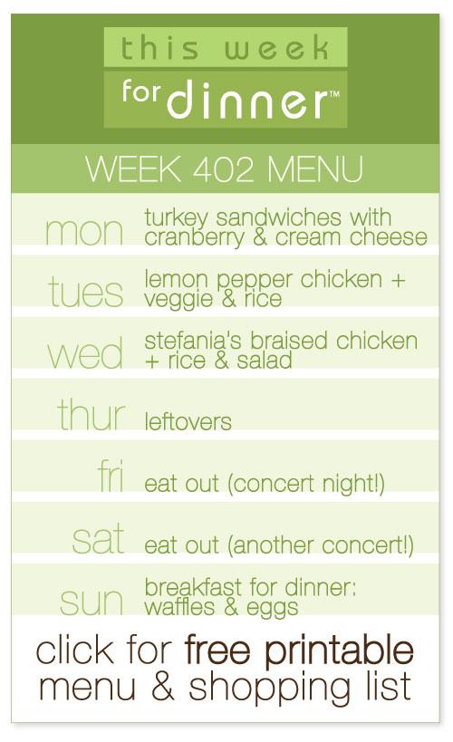 week 402 weekly menu from @janemaynard including free printable meal plan and shopping list!