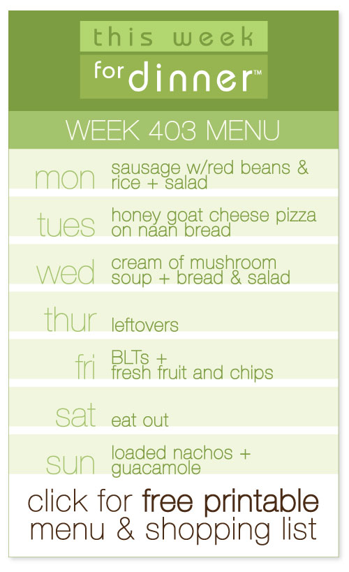 week 403 weekly menu from @janemaynard including free printable meal plan and shopping list