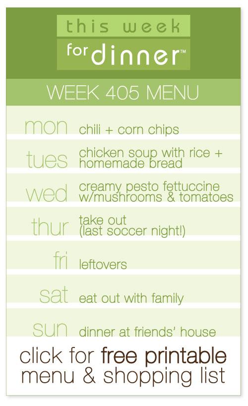 week 405 weekly menu by @janemaynard including FREE printable meal plan and shopping list!