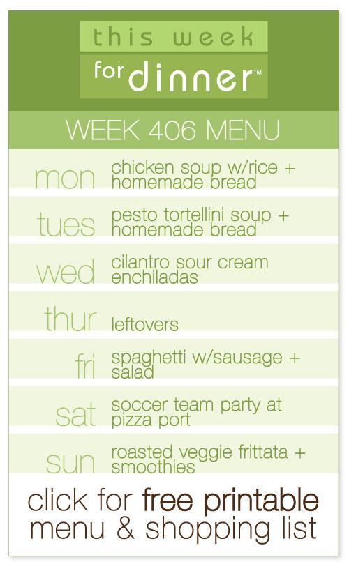 week 406 weekly menu from @janemaynard including FREE printable meal plan and shopping list