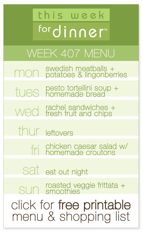 week 407 weekly menu from @janemaynard including FREE printable meal plan and shopping list