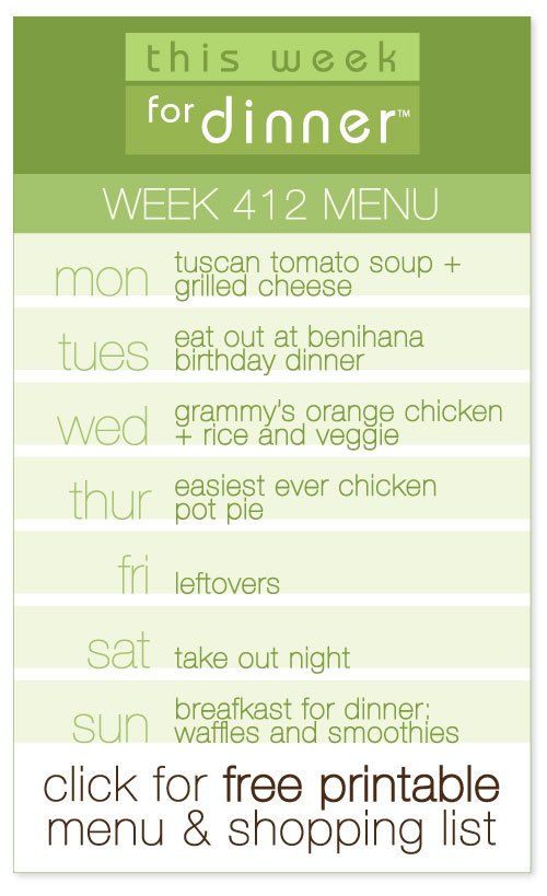 week 412 weekly menu from @janemaynard including FREE printable meal plan and shopping list!