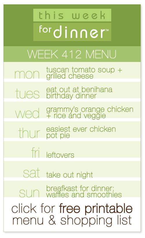 week 412 weekly menu from @janemaynard including FREE printable meal plan and shopping list!
