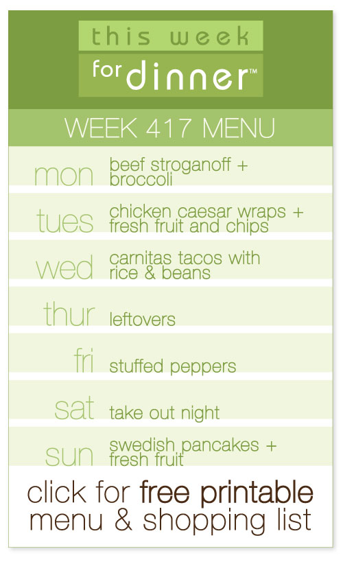 week 417 weekly menu from @janemaynard including FREE printable meal plan and shopping list