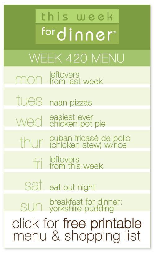 week 420 weekly menu from @janemaynard including FREE printable meal plan and shopping list!