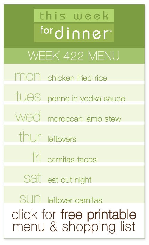 week 422 weekly menu from @janemaynard including FREE printable meal plan and shopping list for the week!