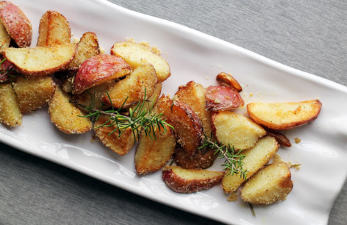 top view of rosemary roasted potato wedges