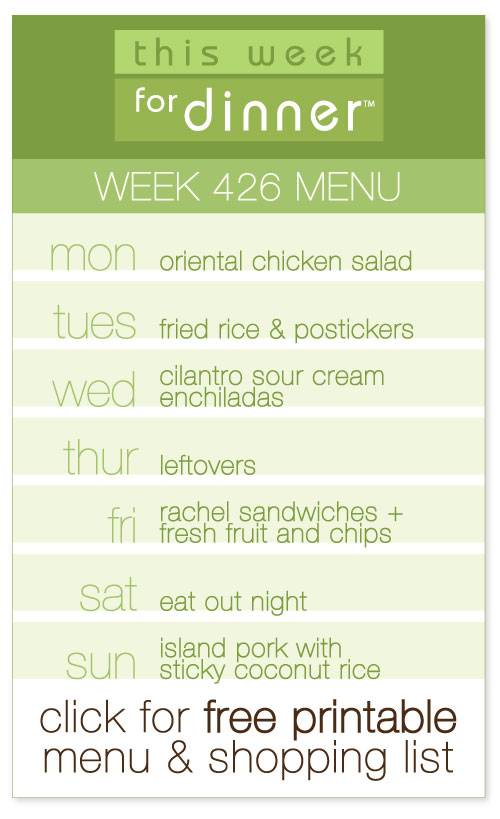 week 426 weekly menu from @janemaynard including FREE printable meal plan and shopping list!