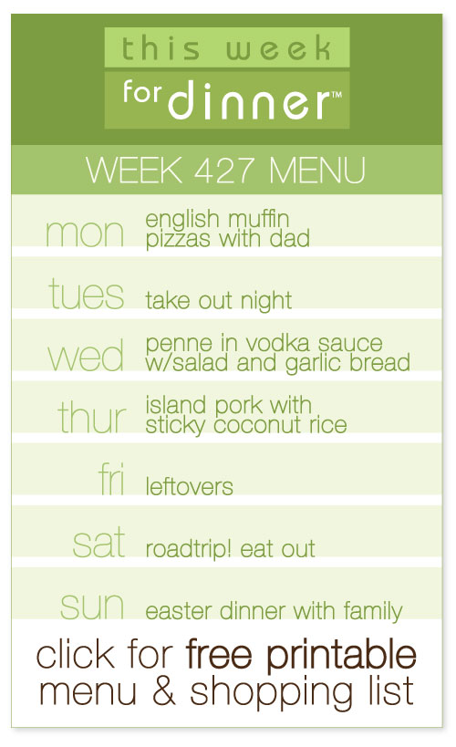 week 427 weekly menu from @janemaynard including FREE printable meal plan and shopping list!