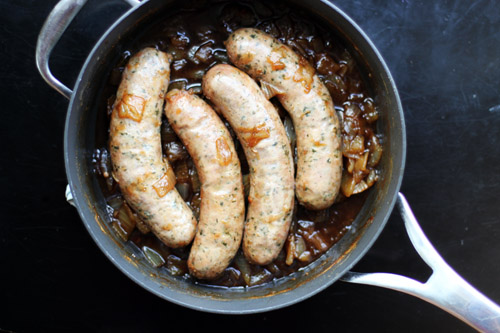 recipe for mark and barb's DELICIOUS and easy beer brats, only 3 ingredients! from @janemaynard