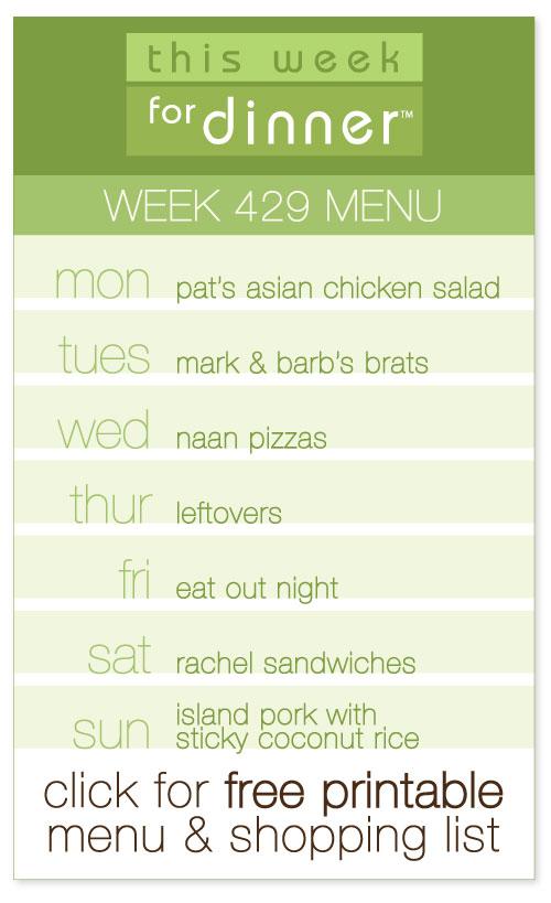 week 429 weekly menu from @janemaynard including FREE printable meal plan and shopping list!