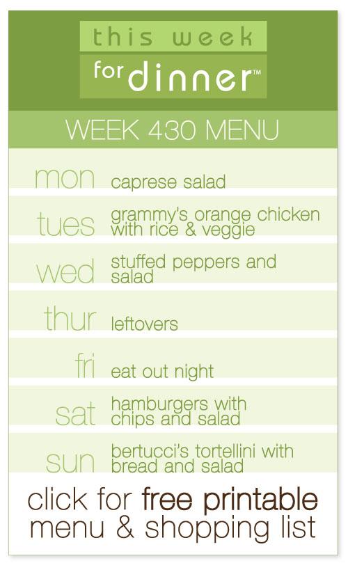 week 430 weekly menu from @janemaynard including FREE printable meal plan and shopping list!