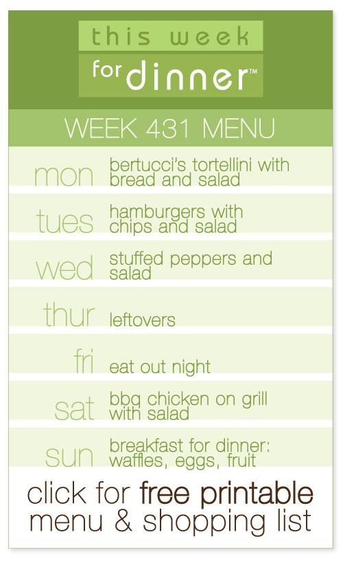 week 431 weekly menu from @janemaynard including FREE printable meal plan and shopping list!