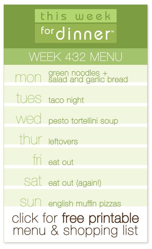 week 432 weekly menu from @janemaynard including FREE printable shopping list and meal plan!