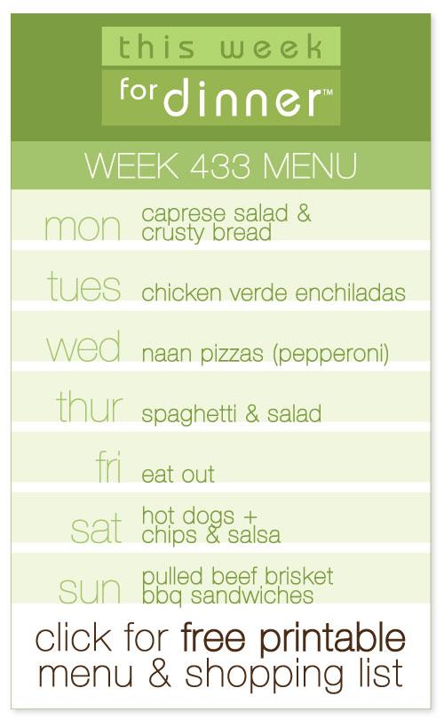 week #433 weekly menu from @janemaynard including FREE printable meal plan and shopping list!