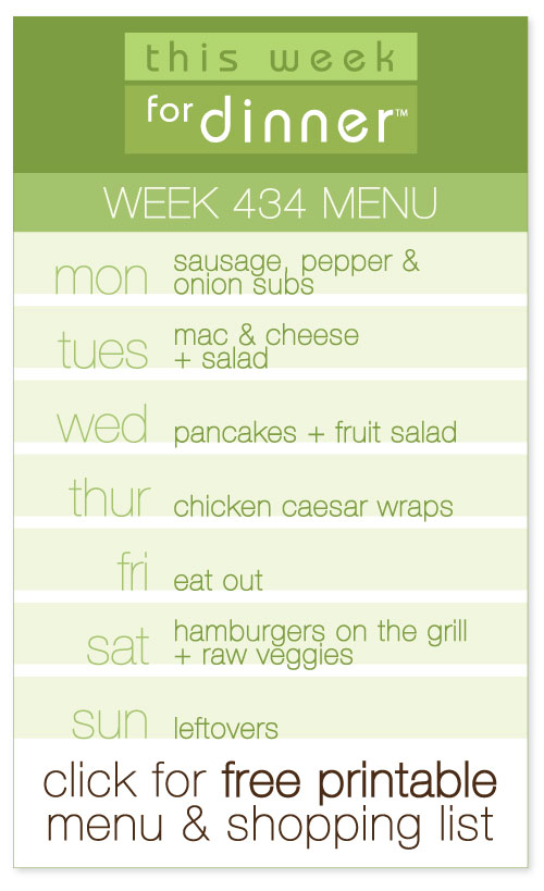 week #434 weekly menu from @janemaynard including FREE printable meal plan and shopping list!
