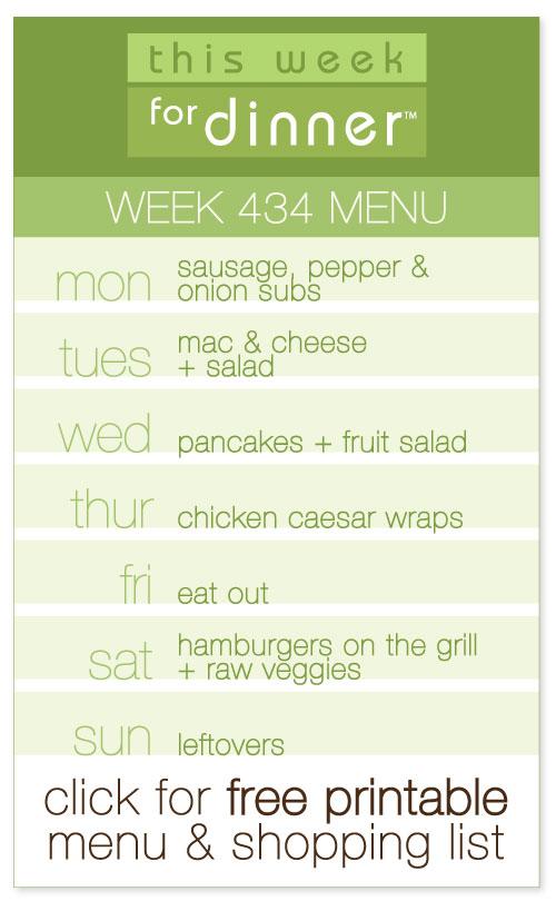 week #434 weekly menu from @janemaynard including FREE printable meal plan and shopping list!