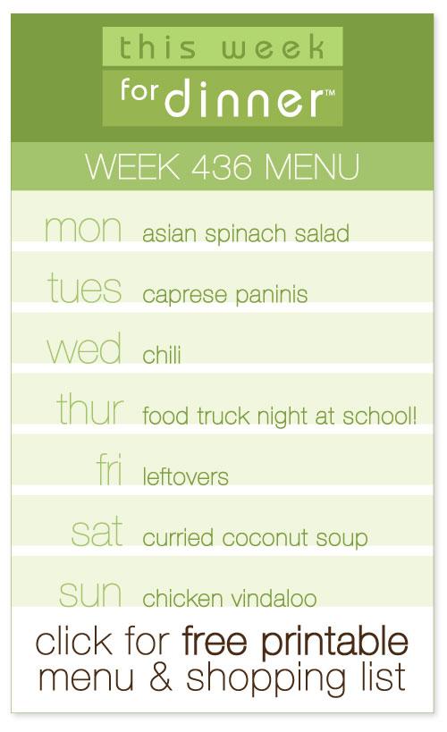 week 436 weekly menu from @janemaynard - includes FREE printable meal plan and shopping list!